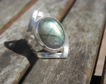 Labradorite Ring Sterling SILVER  Modern Design Elegant