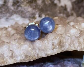 6mm Blau Kyanit Titan Ohrstecker Ohrringe Ohrringe Hypo Allergen aus Neufundland-Hals-Chakra