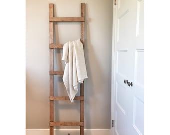Rustic Wooden Blanket Ladder, Farmhouse Decor, Storage Ladder, Quikt Ladder,  Towel Bathroom