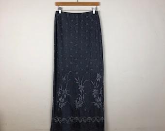 90s Floral Maxi Skirt Size Medium, 90s Grey Maxi Skirt, Printed Maxi Skirt