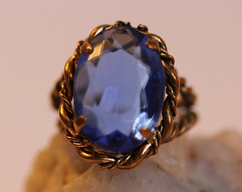Vintage Blue Glass and Rope-Look Ring Made in West Germany, 1950s Vintage Ring Adjustable Ring Size