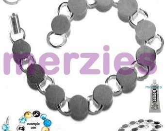 """MERZIEs silver bracelet BLANKs 12-9mm BOX clasp 7.5"""" round disk pads glue on typewriter keys glass buttons cabs - SHIPs from USA"""