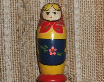 Vintage Russian Wooden Figurine Matryoshka /  Reel of Thread