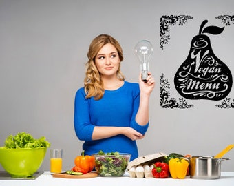 Wall Vinyl Sticker Decal Kitchen Vegan Menu Life stile healthy diet fruits  bo2251