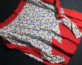 Vintage Cotton Patchwork Apron New Condition Retro Fabric