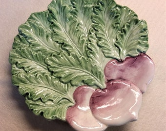 Fitz and Floyd Canapé Plate with a Radish Motif Circa 1991