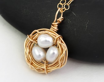 Bird Nest Necklace - 14K Gold Fill Necklace - Freshwater Pearl Necklace - Gold Nest - Gold Necklace - Xmas Gift - Mothers Day Gift - Wife