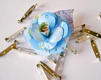 Paper flower brooch etsy paper flower brooch paper wedding accessory map paper corsage wedding boutonniere map mightylinksfo