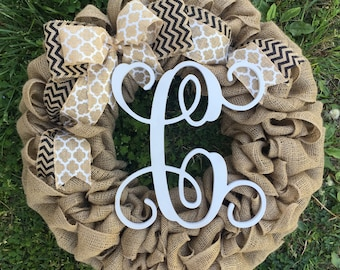 Burlap Welcome Door Wreath with black and white chevron ribbon, rustic country shabby chic farmhouse summer wreath