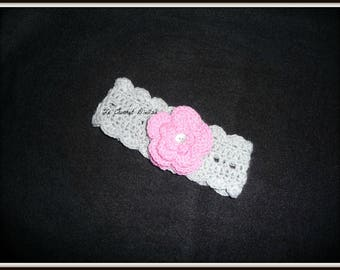 BABY GRAY EAR WARMER HEADBAND / PINK