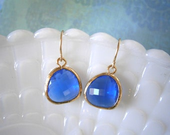 Cobalt Blue Earrings, Gold Earrings, Wife Gift, Mom Mother Gift, Gold Earrings