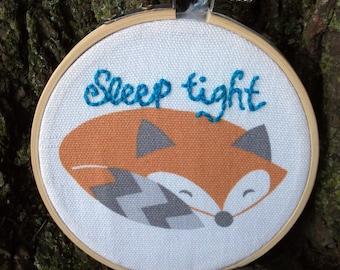 Sleep Tight Fox Nursery Embroidery Hoop Art