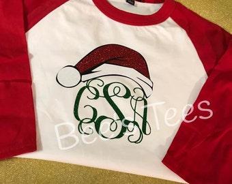 Monogram Christmas Baseball Tee - Santa Hat Tee - Santa Tee - Christmas Tee - Holiday Tee -- Youth and Adult available -- Christmas Raglan