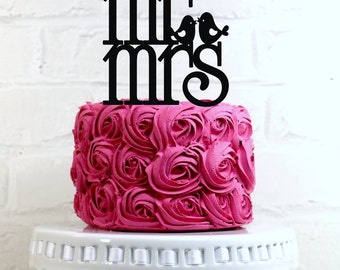 Mr & Mrs Love Bird Wedding Cake Topper or Sign