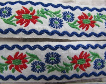 "Vintage Floral Ribbon 40 inches x 1 1/8"" in width Primary colors Woven"