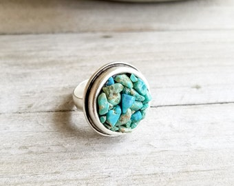 Gemstone Ring Silver, Statement Ring, Turquoise Ring, Blue Stone Ring, Large Round Ring, Adjustable Size Ring, Silver Plated, Raw Gemstone