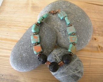 Turquoise/copper and black lava bead bracelet