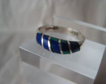 Blue Green Ring Sterling Silver Azurite Malachite Stone Inlay Vintage Size 5 1/2 925