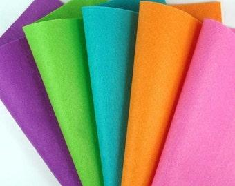 5 Colors Felt Set - Brights - 20cm x 20cm per sheet