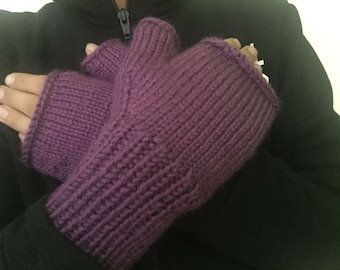 Violet knitted fingerless gloves comfortable and warm