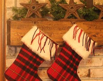 Christmas Stocking Pendleton Wool Black Red Scotch Plaid Fur Cuff