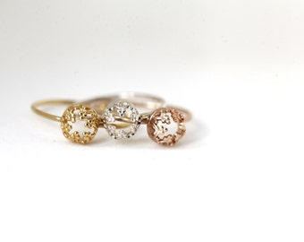 READY TO SHIP. Mini Gold-vermeil Crown. Gold plated silver ring. wedding band. engagement ring
