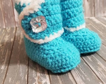 Princess Crochet Boots -Baby Girl Clothes - Baby Photo Prop - Newborn Baby Booties - Newborn Girl Coming Home Outfit - Baby Girl Shoes -