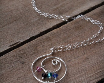 Gift for Mom: Personalized Birthstone Necklace, Custom Mother's Jewelry, Grandmother's Necklace, Handmade, Sterling, Birthstone Jewelry