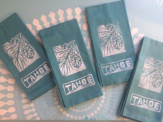 Tahoe pine cone napkins set of 4
