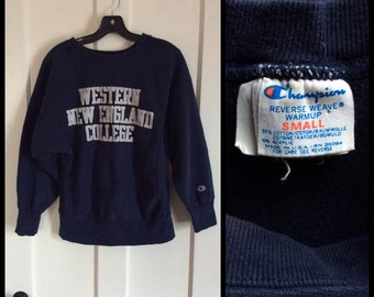 1980s WNEC Western New England College Champion Reverse Weave Sweatshirt made in USA size Small Blue Cloth Tag