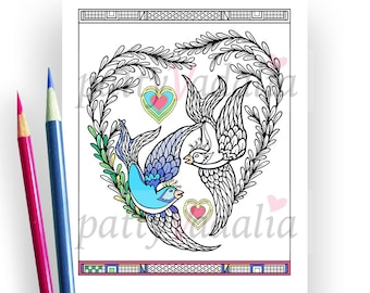 Blue Willow Birds. Hearts. Love Birds Coloring Pages. Adult Coloring Pages. Coloring Pages for Kids and Adults. Printables. Instant Download