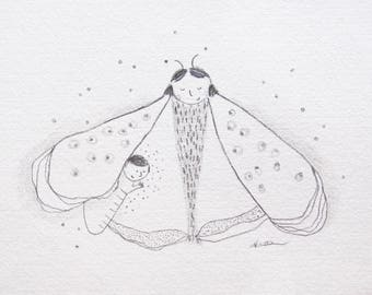 mother moth, mother and baby drawing, nursery art, pencil illustration of mom and baby, whimsical, quirky, fairytale art, ORIGINAL sketch