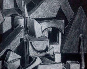 Black and White Still Life Charcoal Drawing