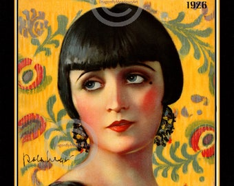 Art Deco Pola Negri Print, Silent Screen Icon, femme fatale, Actress , Motion Picture, Hollywood Stage Valentino, 1926, Giclee Art, 11x14