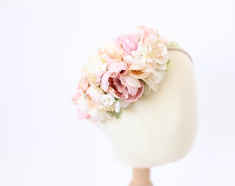flower crown headband, toddler headband, floral headband for girls, flower crown toddler, girls headband, blush pink floral headband