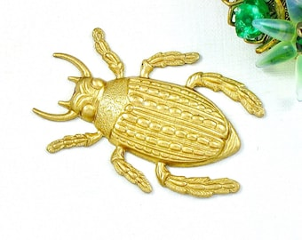 Large BEETLE raw brass jewelry embellishment charm. 45mm x 31mm. (FF35)