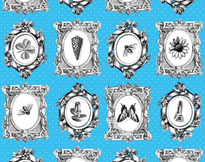 Natural Selection Botanical Fabric by Ellen Medlock -  1 Yard of Turquoise Blue Black White Gray Shabby Quilting Sewing Cotton Fabric(#907C)