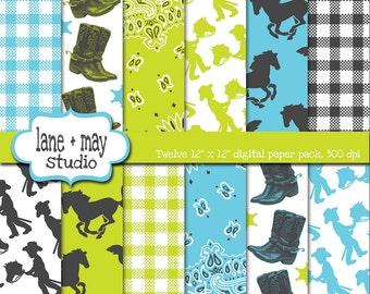 digital scrapbook papers - aqua, chartreuse and gray cowboy themed - INSTANT DOWNLOAD