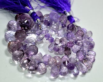 Top Quality !!!~ 100% Natural Purple Amethyst Faceted .Amethyst Drops - 7-19mm Approx , Micro Faceted Drops 9'' inch