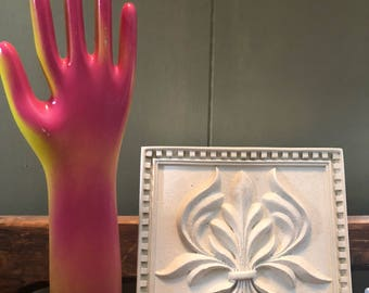 Porcelain Glove Mold Vintage clearance industrial prop pink & yellow sale