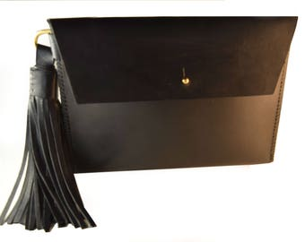 Handmade Clutch, Clutch Purse, Tassel Clutch, Leather Tassel, Clutch, Minimalist, Veg Tanned Leather, Minimalist Clutch, Leather Clutch,