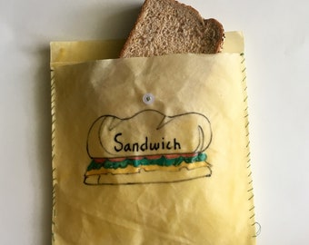 Natural Beeswax Sandwich Bag or snack bag- Plastic Alternative - Reusable bag - Healthy And Eco