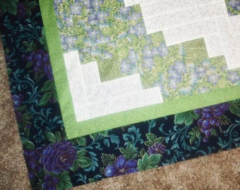 Quilt Top to Finish Off Center Log Cabin with Beautiful Rich Floral Border 43 x 51 inches