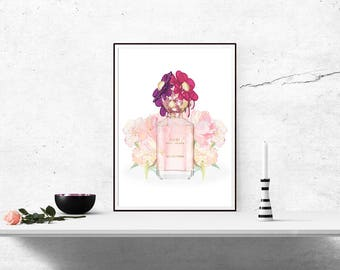 Poster Print Art, Daisy Perfume Bottle, Decor Girly Home WallArt A4 A3 A6 A5 Fashion, Salon, Beauty, Pink, For Her - 1050