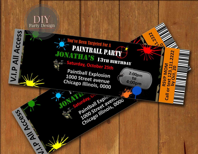 Paintball Ticket Birthday Invitation Digital Party