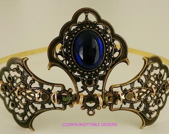 Tudor Medieval Sapphire Blue Elaborate Tiara larp ren sca Tudor Wedding
