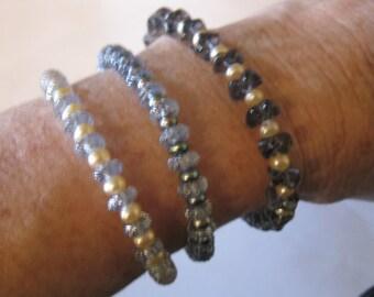 bracelet, vintage German glass & freshwater pearls, sterling