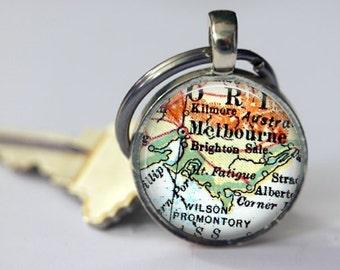 Melbourne Australia Keychain Anniversary, keychain couples gifts, Keychain Fathers Day Gifts, Photo Gift, Australia key chain