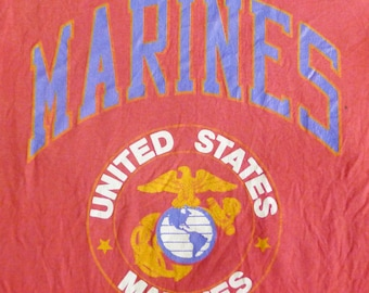 Vintage 80's 90's United States Marines Red T-shirt