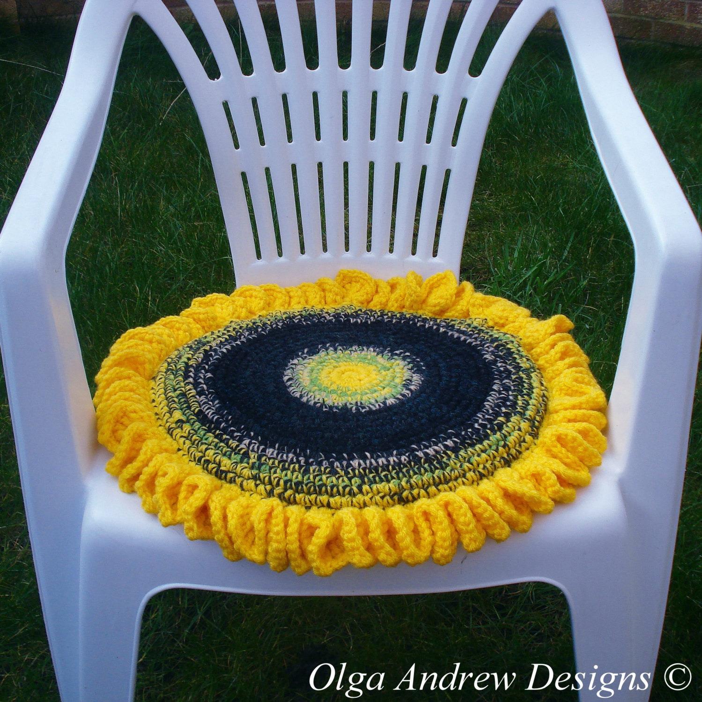 Sunflower chair seat cushion crochet pattern crochet sunflower ...